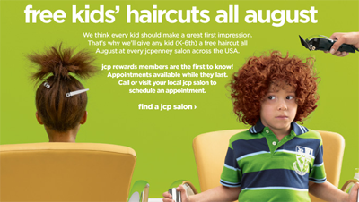 free haircuts at JCPenney