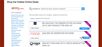 Online Coupon Code database screenshot