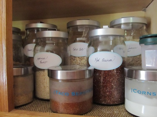 Labeled jars in the pantry