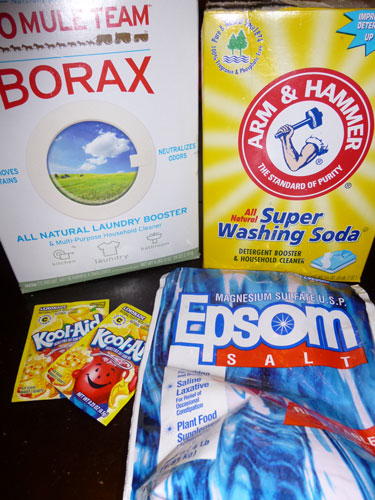 Ingredients for DIY eco-friendly dishwasher detergent
