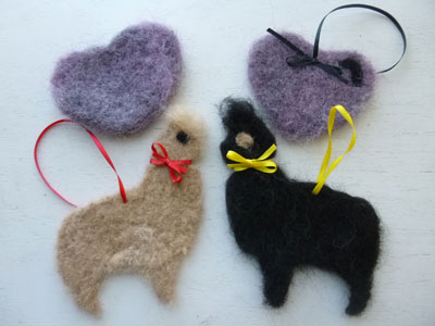 Needle felt hearts and alpcas