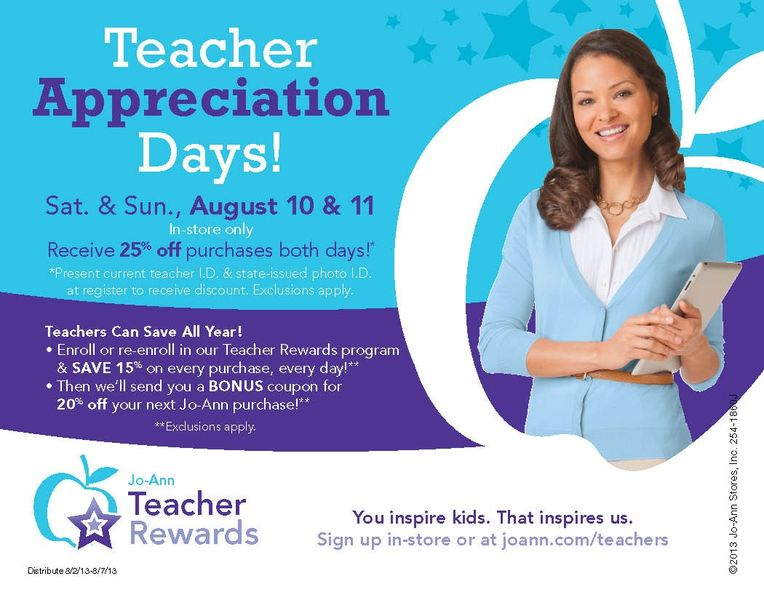 Teacher Appreciation Days at JoAnn Fabric