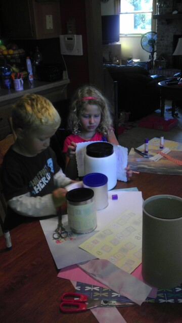 Kids working on Storage Crafts