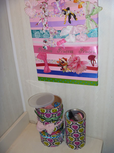 Organize hair ties and more with upcycled cans