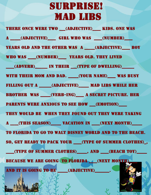 Disney Trip MAD LIBS