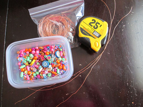 Supplies for beaded bubble wands
