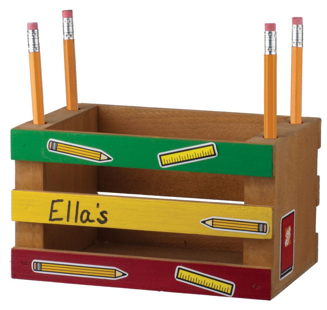 Free home depot kids workshop mini crate pencil holder for Kids crafts at home depot