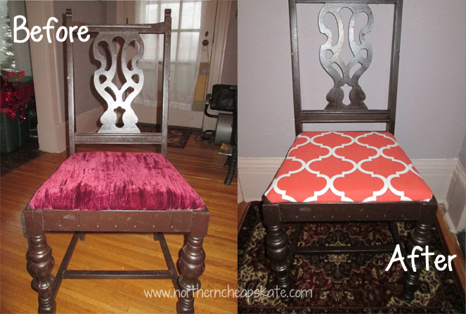 how to recover a dining room chair before and after - How To Recover Dining Room Chairs