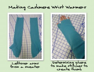 Making Cashmere Wrist Warmers