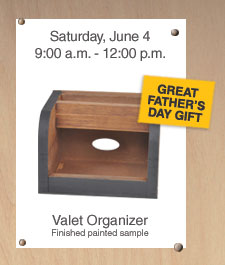 Free Home Depot Kids Workshop: Valet Organizer