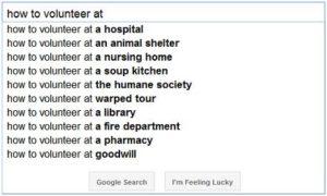 Googling volunteer opportunities