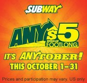 $5 Footlongs in October at Subway