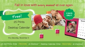 Free Photo Prints & Desk Calendar