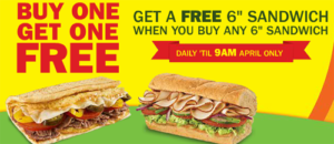 Subway BOGO Offer