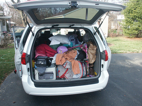 Minivan packed for road trip
