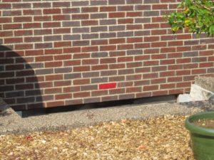 a bright red brick