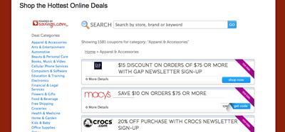 Online Coupon Code database screenshot