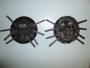 Halloween paper plate spiders