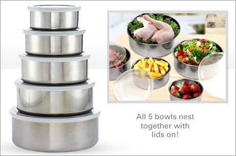 10-Piece Stainless Steel Food Storage Set for $12
