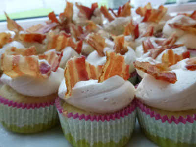 Pancake Muffins with Maple Buttercream Frosting and Bacon