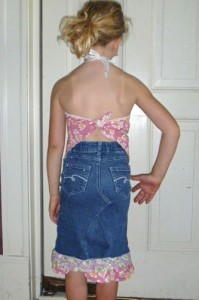 Finished halter top and recycled denim skirt