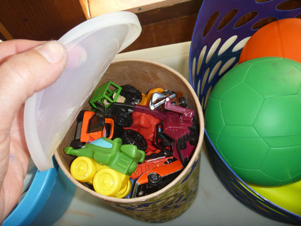 Toy cars are contained with this storage craft