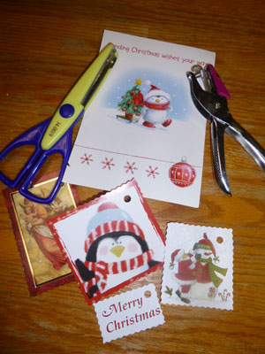 Recycle greeting cards for creative homemade gift tags