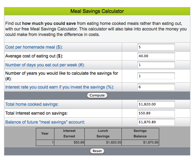 Meal Saving Calculator