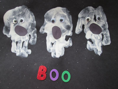 Halloween Hand Print Crafts - Hand Print Ghosts