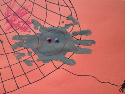 Halloween Hand Print Crafts - Hand Print Spider