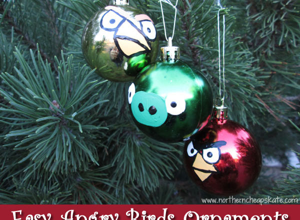 Easy Angry Birds Ornaments with Thrifty Supplies