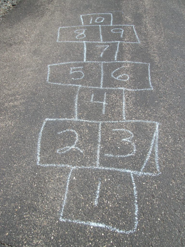Hopscotch with Sidewalk Chalk