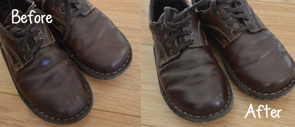 Before and After Shoe Polish
