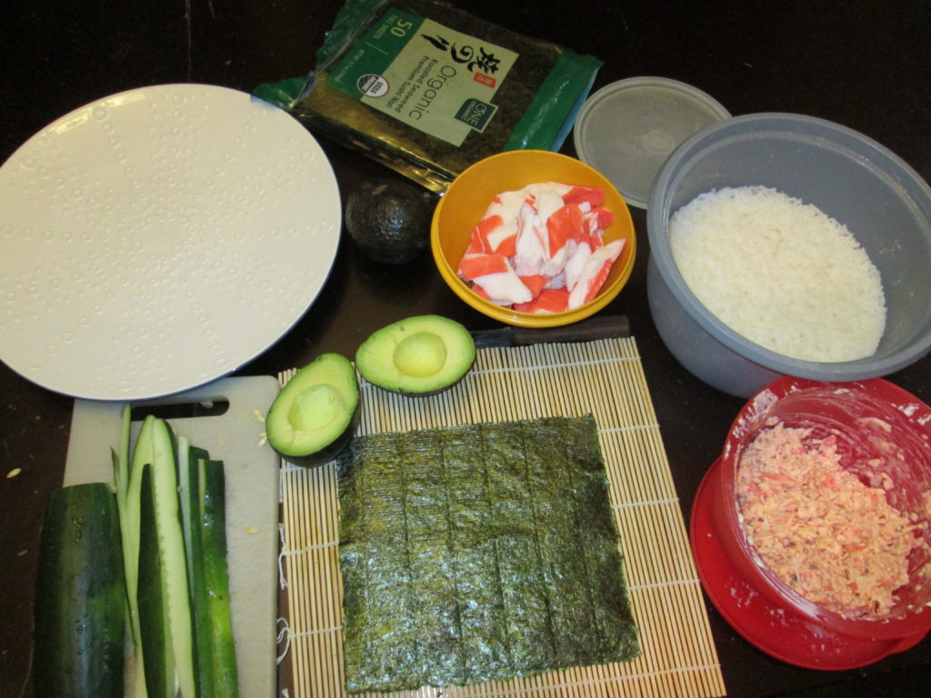 Ingredients to Make Your Own California Crab Sushi Rolls