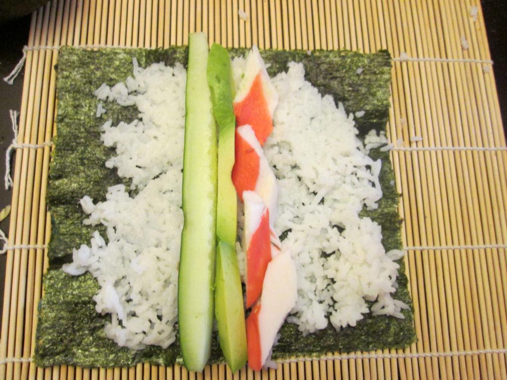 Making California Crab Sushi Rolls