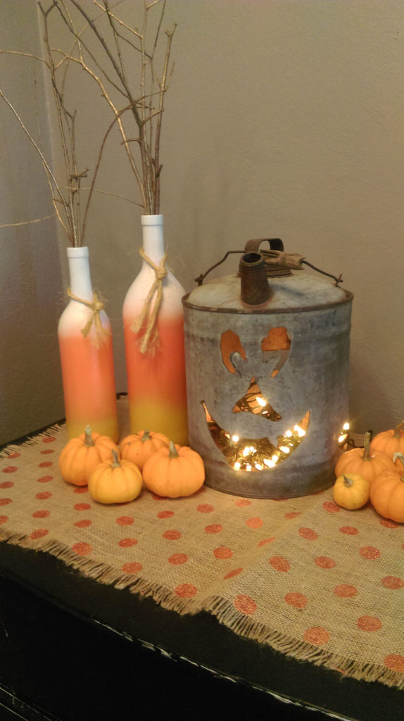 Candy Corn Decor From Old Bottles