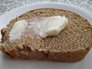Homemade butter on homemade bread