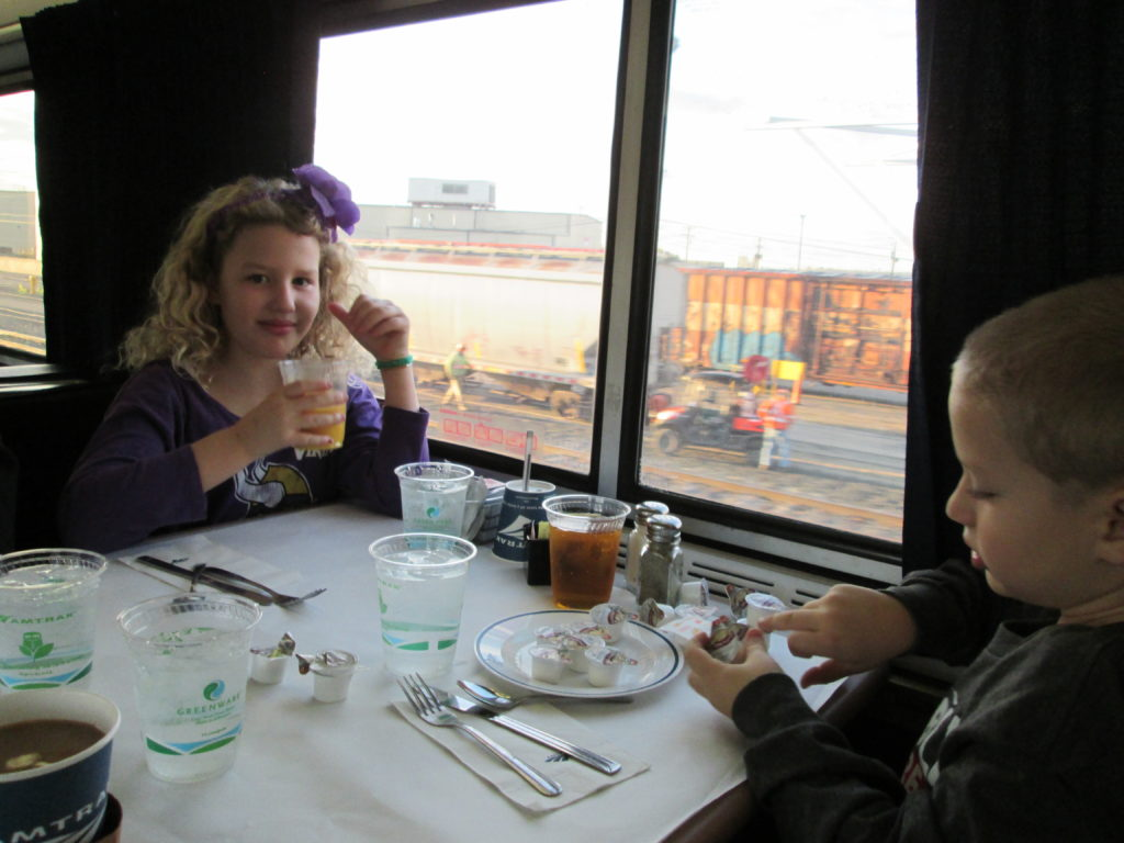 Enjoying the dining car on Amtrak